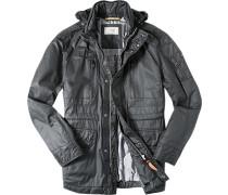 Herren Jacke Baumwolle wasserabweisend schwarz schwarz,grau