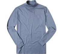 Pullover Unterzieher Stehkragen Baumwolle hellblau meliert