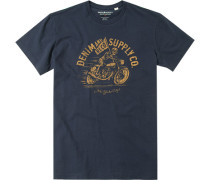 Herren T-Shirt Baumwolle navy gemsutert blau