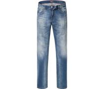 Jeans Straight Fit Baumwoll-Stretch jeansblau