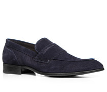Schuhe Slipper Veloursleder dunkelblau