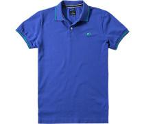Polo-Shirt Polo Slim Fit Baumwoll-Piqué aqua