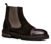 Herren Schuhe Chelsea Boots Velours-Glattleder testa di moro braun,rot