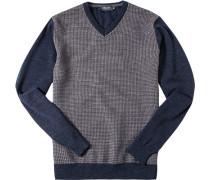 Pullover Merinowolle extrafein navy-greige gemustert
