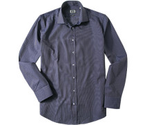 Hemd Modern Fit Baumwolle marineblau gemustert
