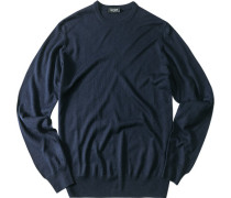 Herren Pullover Seiden-Kaschmir-Mix marine blau