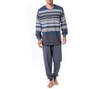Schlafanzug Pyjama Baumwolle blau- gestreift
