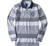 Herren Polo-Shirt Polo Baumwoll-Piqué marine-hellgrau gestreift blau