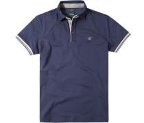 Poloshirt Slim Fit Baumwoll-Piqué nachtblau