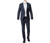 Herren Anzug Slim Fit Schurwolle Super100 dunkelblau gemustert