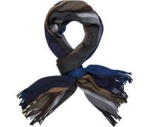 Herren  Schal Wolle blau gestreift grau
