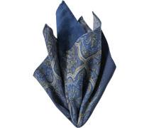 Herren Accessoires  Einstecktuch Wolle dunkelblau-olivgrün gemustert