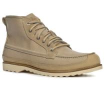 Schuhe Schnürstiefeletten Leder-Textil hellbeige