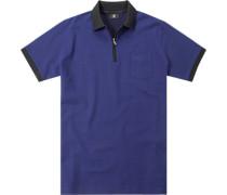 Zip-Polo-Shirt Baumwoll-Piqué royalblau
