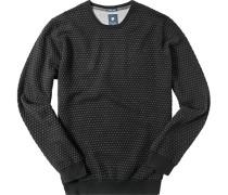 Herren Pullover Baumwoll-Schurwoll-Mix schwarz-grau gepunktet