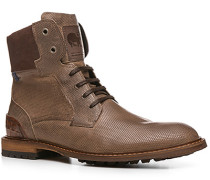 Schuhe Stiefeletten Kalbleder taupe gemustert