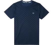 T-Shirt Baumwolle navy kariert