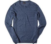 Pullover Leinen marineblau-weiß meliert