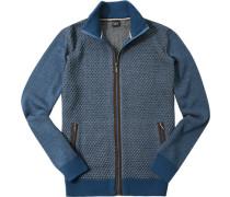 Cardigan Wolle himmelblau-grau meliert