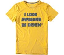 Herren T-Shirt Baumwoll-Mix gelb