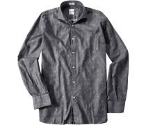 Hemd, Modern Fit, Twill, -weiß gemustert