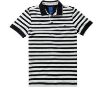 Polo-Shirt Polo Modern Fit Baumwoll-Piqué nachtblau- gestreift
