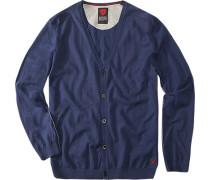 Herren strellson Sportswear Cardigan Mignon Baumwolle mittelblau