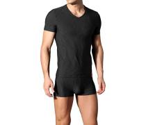 Herren T-Shirt Microfaser weiß gestreift schwarz