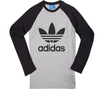 T-Shirt Longsleeve, Baumwolle, hellgrau-schwarz meliert