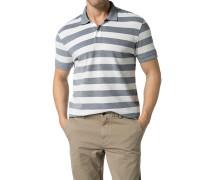 Herren Polo-Shirt Polo Baumwoll-Piqué navy-weiß gestreift blau