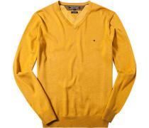 Pullover Baumwolle-Seide maisgelb meliert