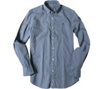 Herren Feincord-Hemd Regular Fit jeansblau