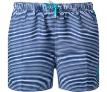 Herren Bademode Bade-Shorts Microfaser marine-weiß gestreift blau