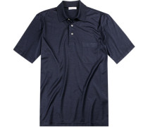 Polo-Shirt Polo, Seiden-Jersey, dunkelblau meliert