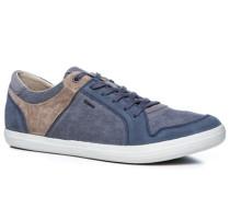 Herren Sneaker Veloursleder-Canvas jeansblau-taupe blau,grau