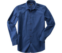 Herren Hemd Regular Fit Strukturgewebe dunkelblau