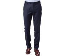 Hose Slim Fit Wolle-Baumwolle dunkelblau gemustert