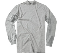 Pullover Unterzieher, Stehkragen, Baumwolle, hellgrau meliert