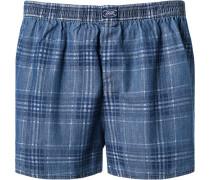Herren Boxer-Shorts Baumwolle indigo-jeansblau kariert