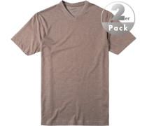T-Shirt Regular Fit Baumwolle taupe meliert
