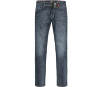 Jeans-Hose Straight Fit Baumwoll-Stretch denim