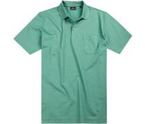 Polohemd, Baumwoll-Jersey, seegrün gestreift
