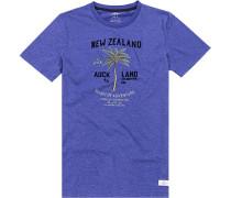 T-Shirt Baumwolle kobaltblau meliert