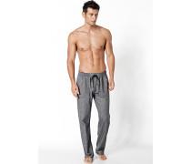 Herren Schlafanzug Pyjamahose Baumwolle anthrazit gemustert grau