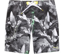 Herren Bademode Long Boardshort Polyester schwarz-grau