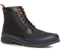 Schuhe Stiefeletten, Kalbleder-Canvas wasserabweisend,