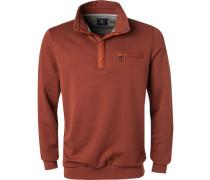 Pullover Troyer, Baumwolle, zimtbraun