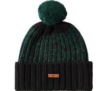 Mütze Wolle dunkelgrün-schwarz meliert