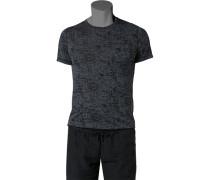 Herren T-Shirt Baumwoll-Mix grau-schwarz gemustert