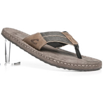 Herren Schuhe Zehnsandale Leder-Canvas khaki-taupe grün